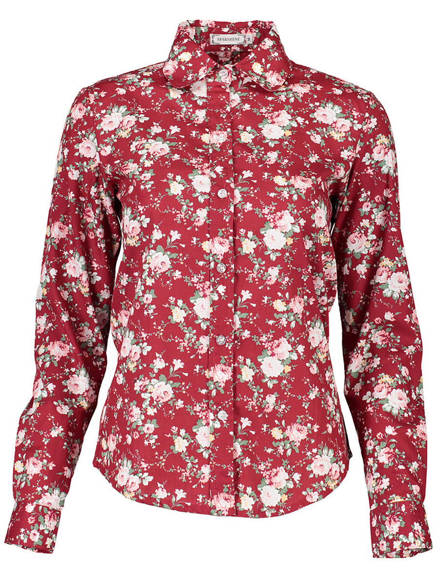 Allover Floral Printed Long Sleeve Blouse