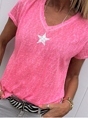 Polyester  V-Neck  Plain Star  Short Sleeve Short Sleeve T-Shirts