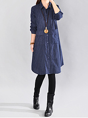 Vertical Striped Flap Pocket Shirt Dress
