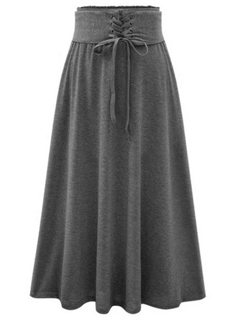 Plain Elastic Waist Lace-Up Flared Maxi Skirt