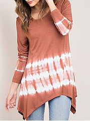 Autumn Spring  Cotton  Women  Round Neck  Gradient Striped Long Sleeve T-Shirts