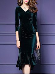 V-Neck Plain Velvet Midi Mermaid Bodycon Dress