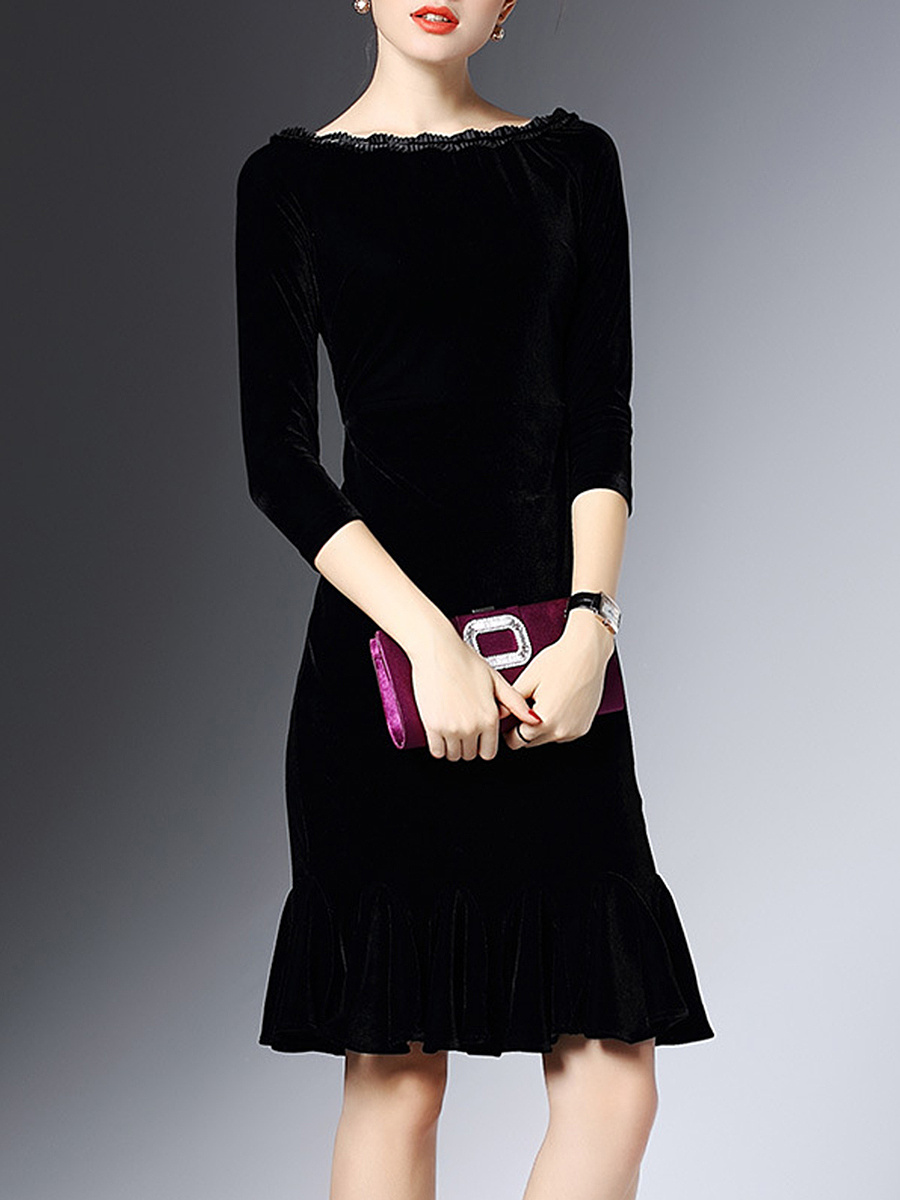 Boat Neck Ruffled Hem Plain Velvet Bodycon Dress