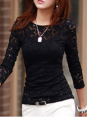 Autumn Spring Winter  Lace Polyester  Women  Round Neck  See-Through  Floral Plain  Long Sleeve Blouses