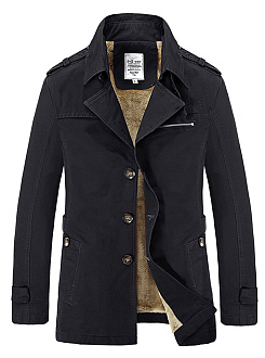 Lapel Single Breasted Fleece Lined Plain Men Jacket