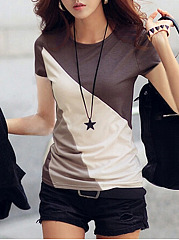 Spring Summer  Cotton  Women  Round Neck  Color Block Short Sleeve T-Shirts