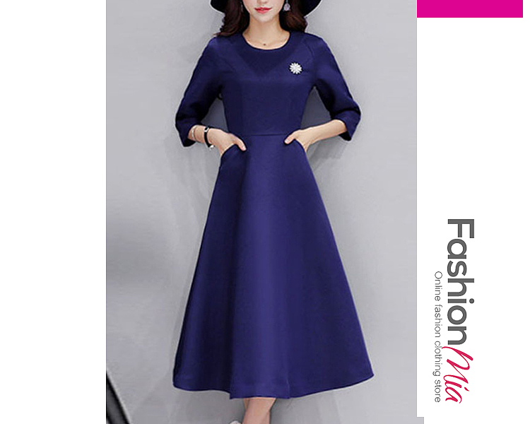 style:fashion, material:polyester, collar&neckline:round neck, sleeve:long sleeve, pattern_type:plain, length:calf-length, how_to_wash:cold gentle machine wash, supplementary_matters:all dimensions are measured manually with a deviation of 2 to 4cm., occasion:date, season:autumn,winter, dress_silhouette:flared, package_included:dress*1, lengthshoulderbustwaist