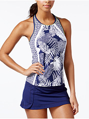 Crew Neck  Leaf Printed Three Piece Set  High-Rise Swimwear