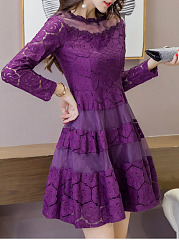 Purple Elegant See-Through Plain Lace A-Line Party Skater Dress