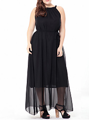 Flowing Solid Round Neck Chiffon Plus Size Maxi Dress