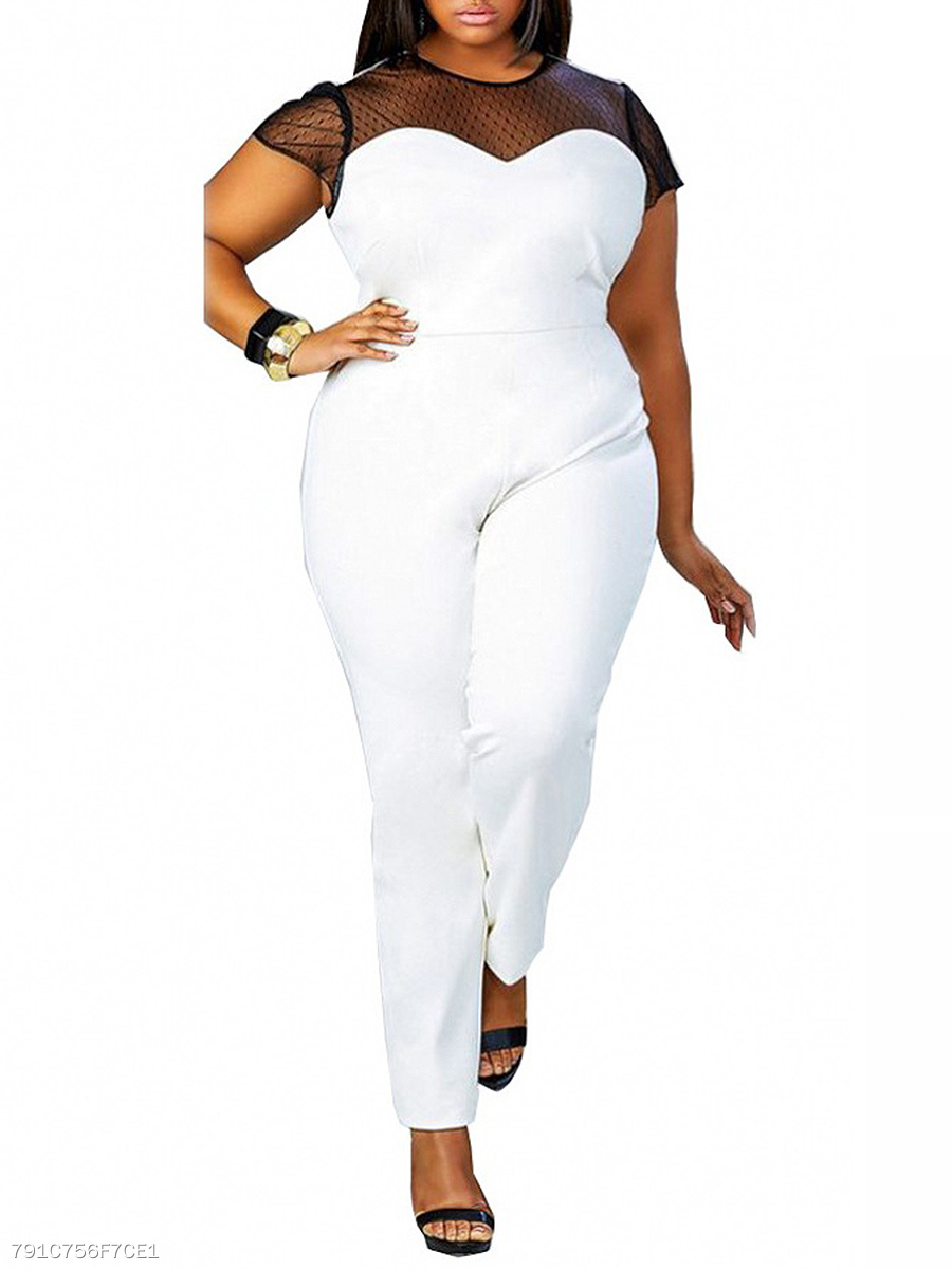 Fabulous Modern Patchwork Hollow Out Plus Size Jumpsuit
