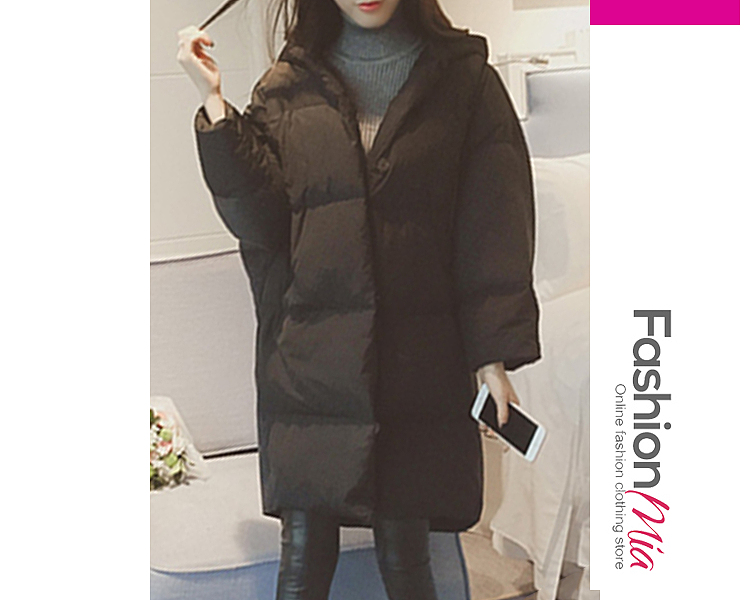 Hooded  Patchwork  Plain Coat
