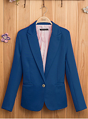 Notch Lapel  Vented  Single Button  Plain Blazer