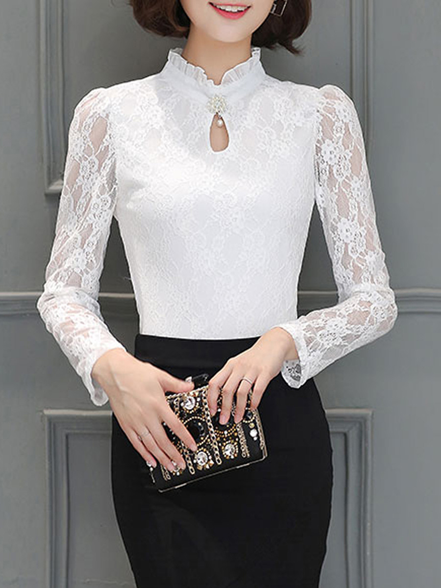 Band Collar See-Through Keyhole Plain Lace Long Sleeve T-Shirt
