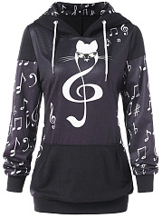 Hooded  Patchwork  Cartoon Printed Hoodie