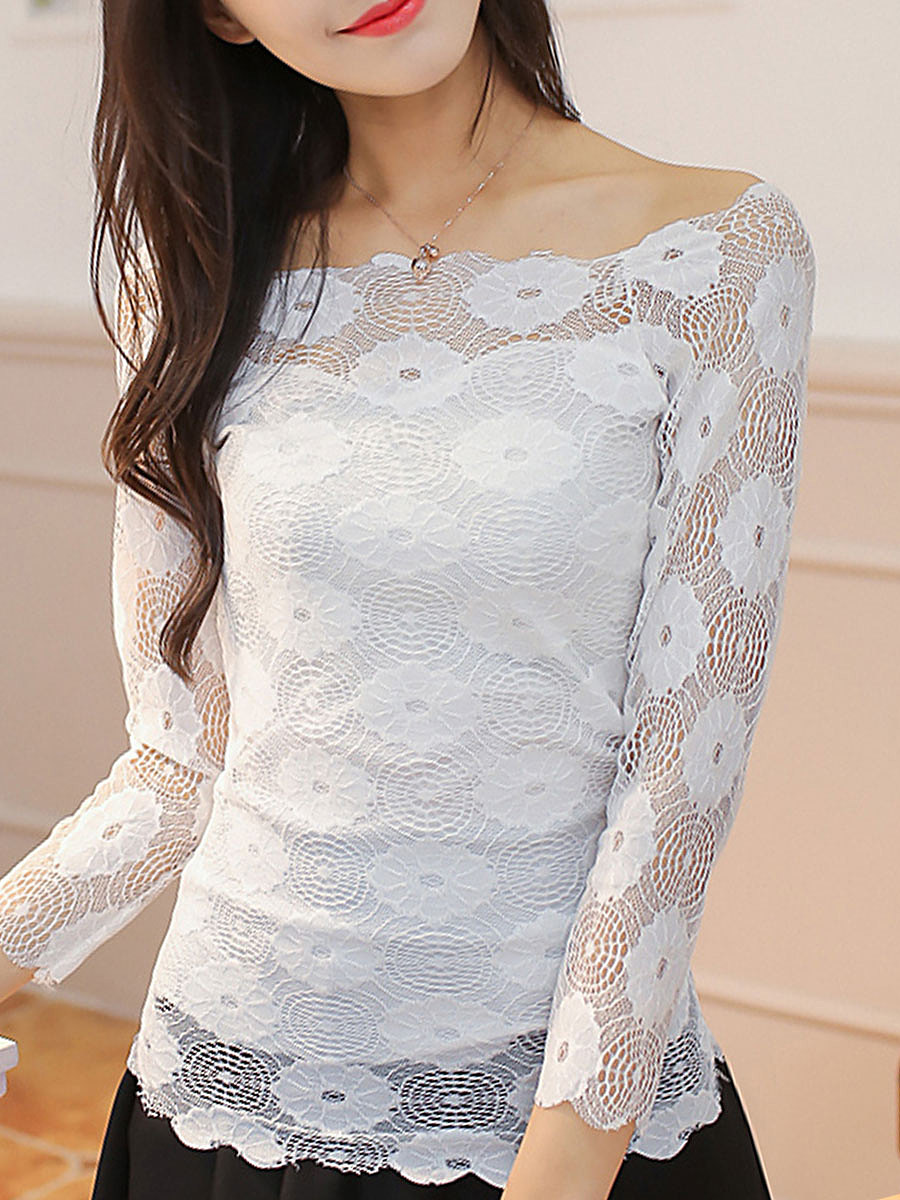 Spring Summer  Lace  Women  Open Shoulder  Patchwork See-Through  Plain Blouses