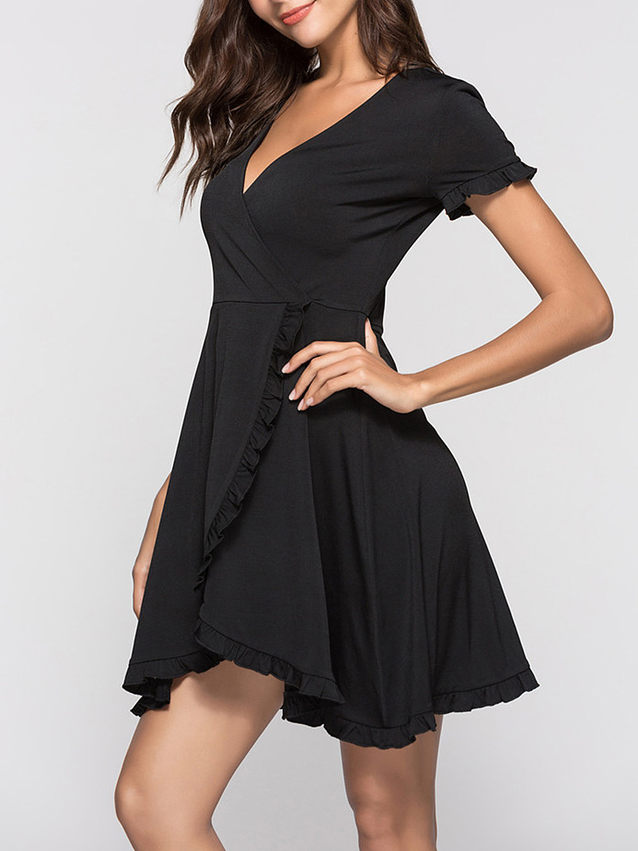 Deep V-Neck Ruffle Trim Plain Skater Dress
