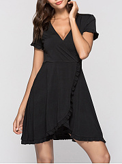 Deep V-Neck Ruffle Trim Plain Skater Dress