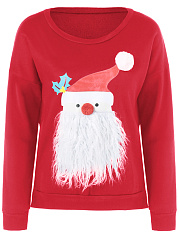 Chriatmas Lovely Santa Printed Round Neck Sweatshirt