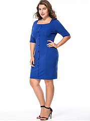 Half Sleeve Square Neck Single Breasted Solid Plus Size Bodycon Dress