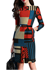 Crew Neck Color Block Geometric Pocket Bodycon Dress