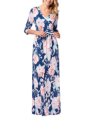 V-Neck  Printed Date Empire Line Maxi Dress
