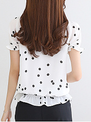 Summer  Chiffon  Women  Tie Collar  Polka Dot  Short Sleeve Blouses