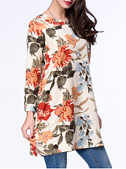Colorful Split Neck Pocket Floral Blouse