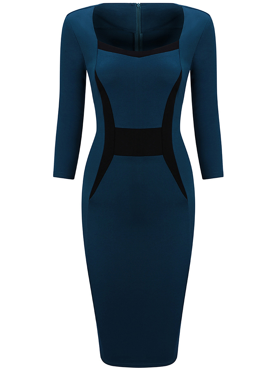 Women Office Color Block Bodycon Dress