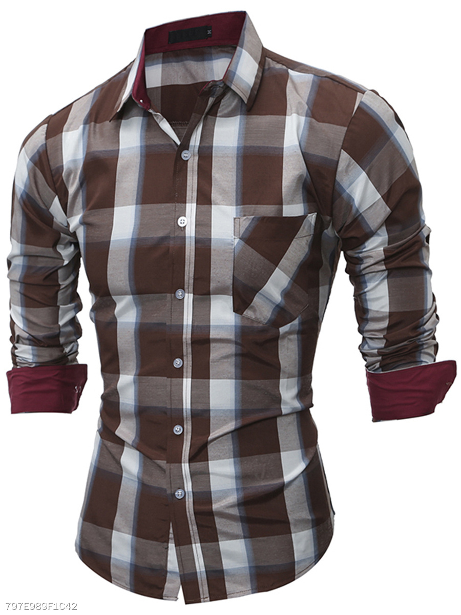 Turn Down Collar  Patch Pocket  Plaid  Cuffed Sleeve  Long Sleeve Long Sleeves
