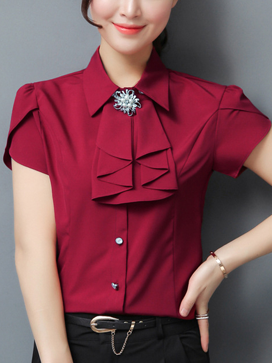 Office Plain  Petal Sleeve Blouse