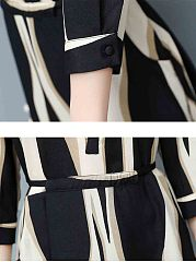 Band Collar Asymmetric Stripe Pocket Maxi Dress