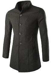 Band Collar Solid Single Breasted Men Woolen Coat