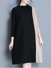 Band Collar Color Block Knitted Shift Dress