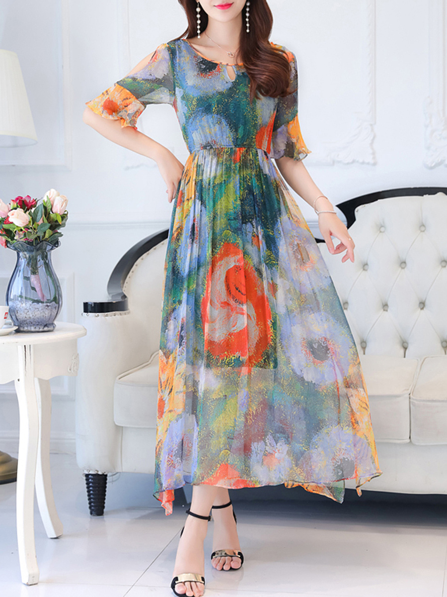 Colorful Printed Open Shoulder Maxi Dress