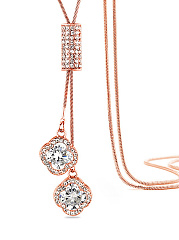 Rhinestone Pendant Long Necklace