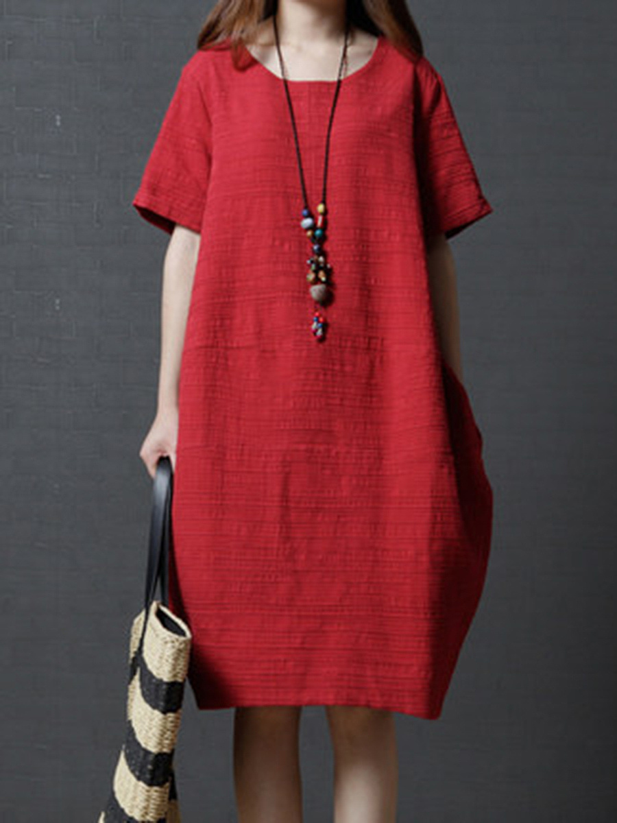 Round Neck Plain Cotton/Linen Shift Dress