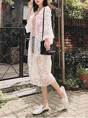 Longline Lace See-Through Plain Kimono