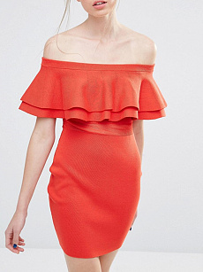 Off Shoulder  Flounce Patchwork  Plain  Blend Bodycon Dresses