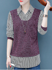 Autumn Winter  Women  Turn Down Collar  Patchwork  Striped  Long Sleeve Blouses