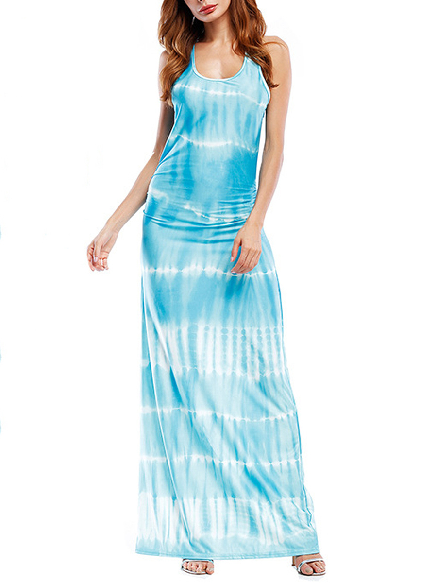 Round Neck  Gradient Maxi Dress