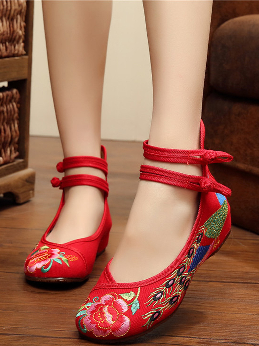 Ankle Strap Embroidery Hidden Heel Pumps