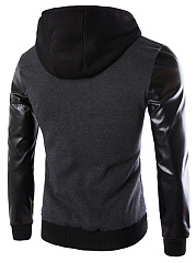Hooded  Patchwork  Plain Men Jackets