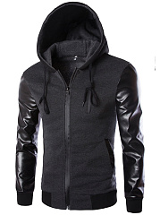 Hooded-Patchwork-Plain-Men-Jackets
