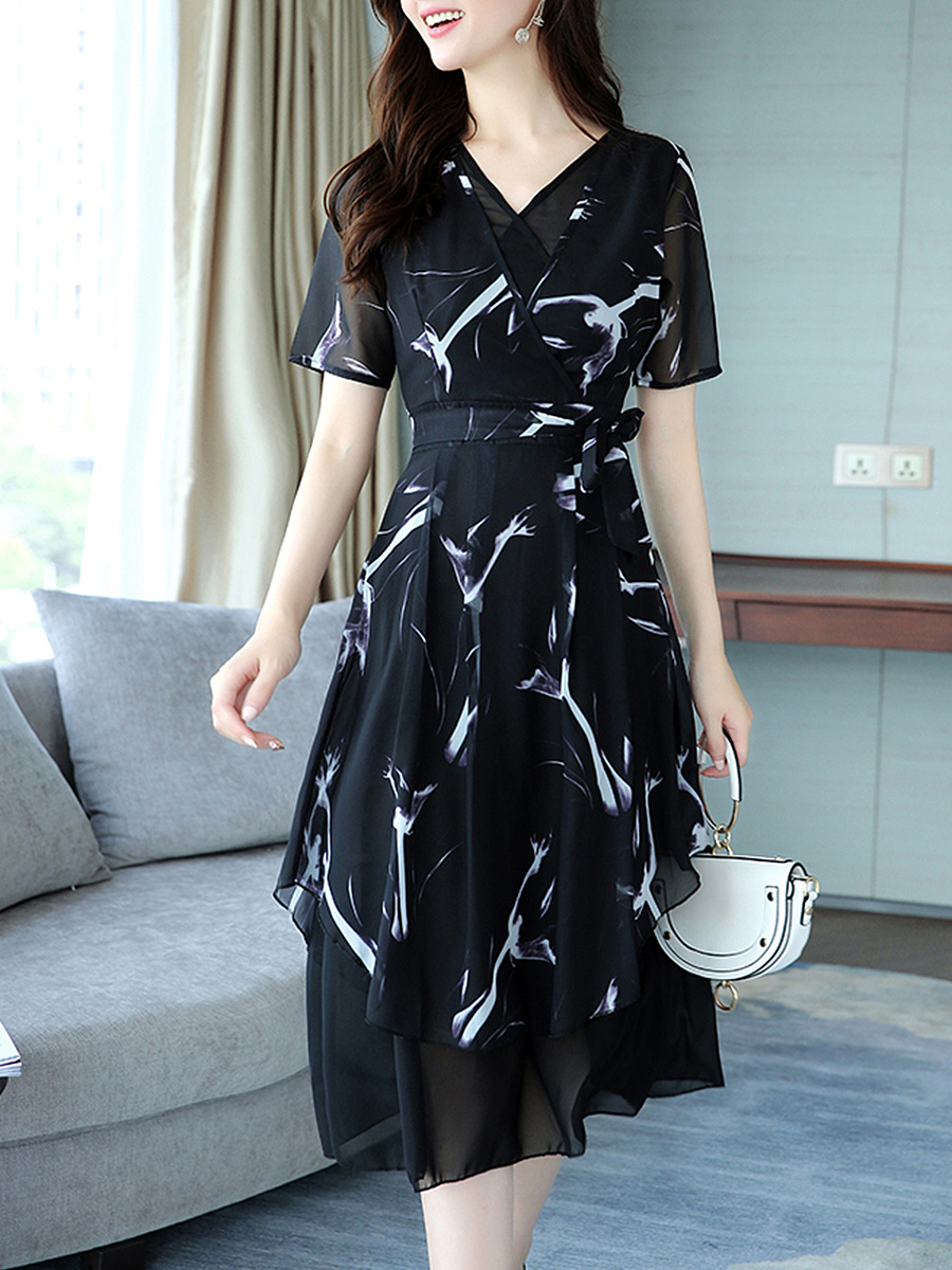 V-Neck Abstract Print Hollow Out Chiffon Maxi Dress