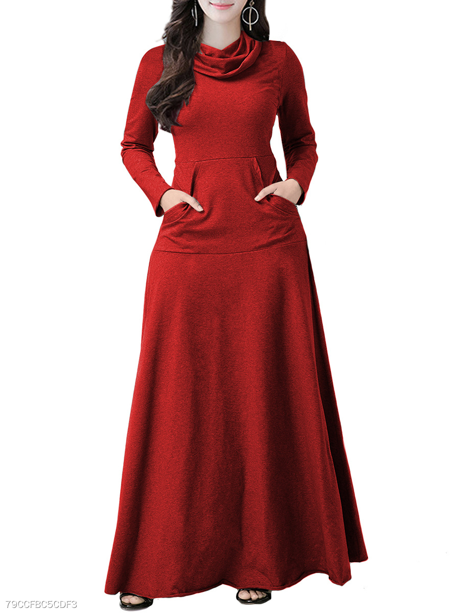 Cowl Neck  Patch Pocket  Plain Maxi Dress