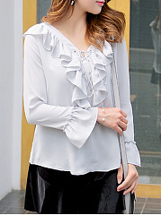 Autumn Spring  Polyester  Women  Surplice  Flounce  Plain  Bell Sleeve  Long Sleeve Blouses