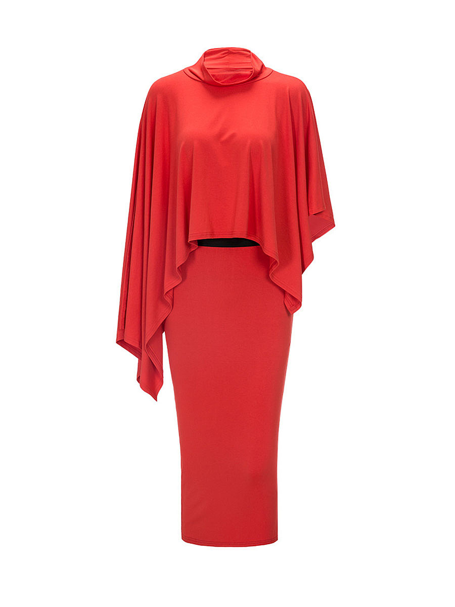 Solid High Neck Cape Sleeve Top And Pencil Slit Skirt
