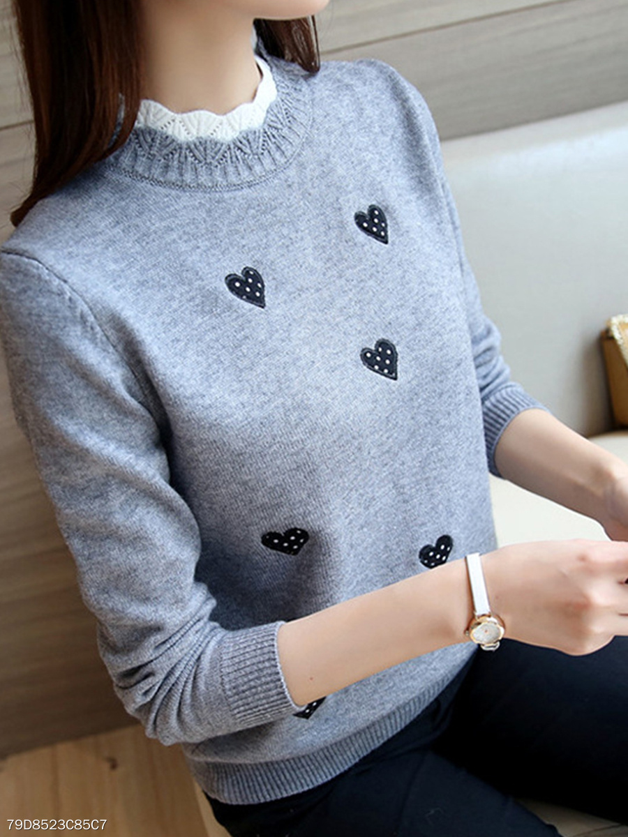 High Neck  Embroidered  Embroidery Knit Pullover