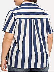 Polo Collar  Asymmetric Hem  Striped  Short Sleeve Plus Size Blouse